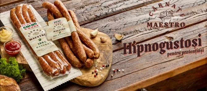PREMIERĂ LA NIVEL NAȚIONAL: Caroli Foods Group lansează primul produs cu 100% ingrediente naturale:  Cârnații Maestro de la Caroli!