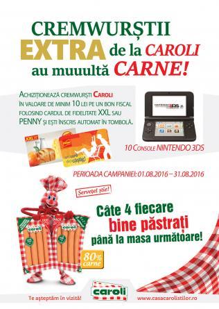 Regulamentul campaniei (Penny & XXL) - Cremwurstii EXTRA de la CAROLI au muuuulta carne !