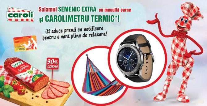 CAMPANIA PROMOTIONALA - Salamul SEMENIC EXTRA de la CAROLI, cu multa carne si CAROLIMETRU TERMIC iti aduce premii cu notificare pentru o vara plina de relaxare!
