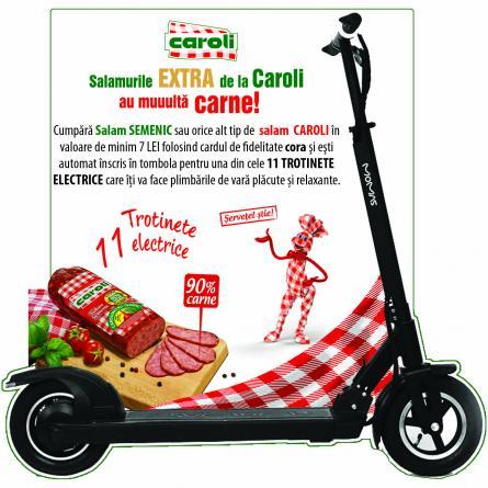 CAMPANIA PUBLICITARA - Salamurile Extra de la Caroli, cu muulta carne, iti vor face plimbarile de vara relaxante cu o trotineta electrica!